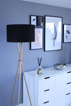 Loft room turned bedroom. Grey (dulux wishing well) and white with black and gold accents. Photo gallery.