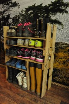 ...Build a shoe storage rack from repurposed pallets... but I'd go floor to ceiling!!