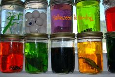 These simple DIY Halloween decorations and crafts will have your home ready for Halloween in no time. Whether you're having a Halloween party or just making Halloween decor for you and the kids, you'll love these simple ideas. Science Halloween, Mad Scientist Halloween, Mad Scientist Party, Fun Halloween Crafts, Halloween Party Decor, Holidays Halloween, Halloween Jars, Halloween Foods, Creepy Halloween