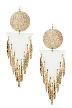 Bansri Rihanna White Statement Chandelier Earrings by Bansri on @HauteLook