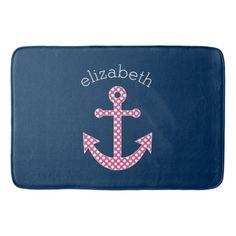 Cute Pink Polka Dot Anchor with Navy Custom Name Bathroom Mat