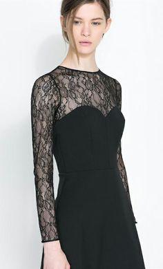 Black Contrast Lace Sleeve Backless Dress