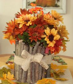 Small branches around a tin can? DIY fall / autumn / Thanksgiving holiday floral craft home decor project idea finished off with a simple burlap bow!The Shady Porch: Rustic Fall Centerpiece Rustic Fall Centerpieces, Thanksgiving Centerpieces, Thanksgiving Crafts, Holiday Crafts, Table Centerpieces, Autumn Decorations, Wedding Centerpieces, Cheap Thanksgiving Decorations, Wedding Decorations