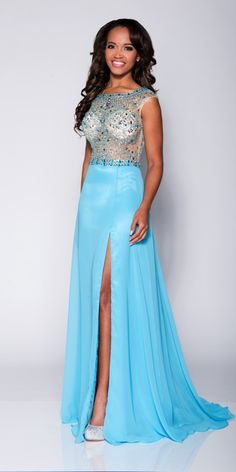 2016 White Straps Crystals Pink Blue Open Back Floor Length Split Front Chiffon Sleeveless Homecoming / Prom Dresses 1601261055