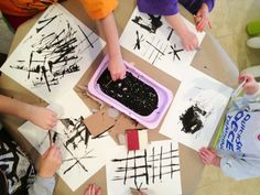Preschool art ideas... Cardboard stamping and shape fill in with crayon.