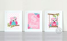 Owls Nursery Art  -  Nursery art Set of 3 - 8X10  Prints  -  Pink and Aqua Nursery Print - Owl Decor for Girl Room - Caden Lane Ikat Lila
