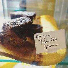 If you need a pick-me-up this morning, head down to Cafe Revival for one of these delicious bad boys. Can't go wrong with a #brownie! #bristol #cafe #chocolate #triplechocolate