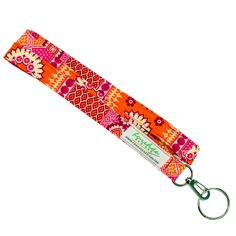 Fabric Handmade Lanyard   Office Badge Holder    LN0007   Key Ring   Hot Pink and Orange, $7.35