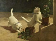 Arthur Heyer (German, 1872-1931) - Two White Cats Playing, Having Knocked over a Plant Pot, 1917 - Oil on canvas