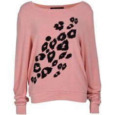 WILDFOX Worn Animal Print Sweater ❤ liked on Polyvore