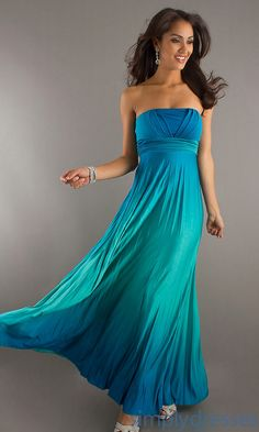 Long Strapless Pleated Dress, Blue Prom Dresses - Simply Dresses