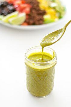 {Skinny} Avocado Cilantro Dressing - sugar free, gluten free and dairy free | ahappyfooddance.com