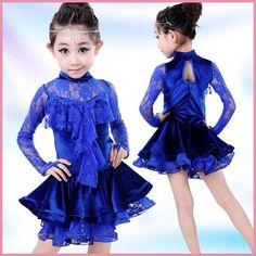 Escuela de la ropa de entrenamiento de baile Ropa del funcionamiento del Festival Girls long-sleeved dress Latin dance clothes