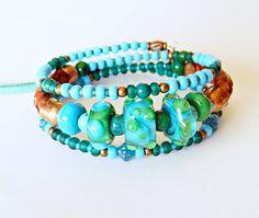 Turquoise Bohemian Lampwork Wrap bracelet BoHo beaded bracelet Turquoise Multstrand Leather Gypsy Hippie Artisan jewelry OOAK Boho Chic (49.00 USD) by MarianneMerceria