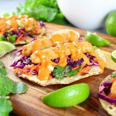 Bang Bang Fish Tacos – a delicious well-balanced meal! With lightly toasted corn tortillas, citrusy cabbage slaw, fish sticks, & yummy Bang Bang sauce! Slaw For Fish Tacos, Fish Tacos With Cabbage, Spicy Fish Tacos, Easy Fish Tacos, Tilapia Fish Tacos, Mexican Fish Tacos, Blackened Fish Tacos, Grilled Fish Tacos, Mini Tacos