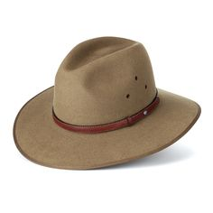 The Akubra is the traditional hat of the Australian outback. Our version comes in stiff felt, with a thin kangaroo leather trim and opal-stone flourish. The leather inner headband ensures the hat is comfortable to wear, even in extreme temperatures.