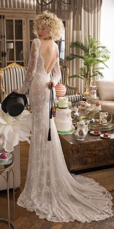 lace sheath low back long sleeves with train vintage inspired wedding dresses lian rokman