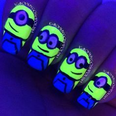 Minions glow in the dark nails Cute Nail Art, Cute Nails, Pretty Nails, My Nails, Uñas Color Neon, Minion Nail Art, Glow Nails, Dark Nails, Best Acrylic Nails