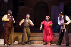 """Production still from True Colors Theatre's 2014-2015 season production of Kevin Ramsey's """"Chasin' Dem Blues: The Untold Story of Paramount Records"""".  Pictured: Brad Raymond, Jeremy Cohen, Maiesha McQueen and Anthony David. Photo credit: Josh Lamkin."""
