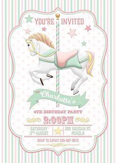 Carrusel invitación menta rosa cumpleaños por WestminsterPaperCo