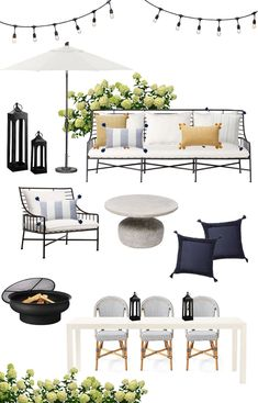 Updating Our Patio for Summer - Danielle Moss Diy Garden Furniture, Deck Furniture, Outdoor Furniture Sets, Furniture Layout, Furniture Ideas, Adirondack Furniture, Patio Furniture Cushions, Outdoor Seating, Outdoor Spaces