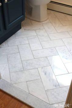 Large Herringbone Marble Tile Floor - How To DIY It For Less - Shine DIY & Design #TileEffectLaminateFlooring Diy Design, Layout Design, Design Ideas, Design Trends, Bathroom Floor Tiles, Bathroom Grey, Marble Tile Shower, Tile Floor Kitchen, Marble Bathrooms