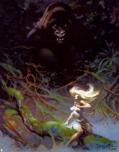 Frank Frazetta (1928 - 2010) fue un pintor, historietista e ilustrador estadounidense, especializado en ciencia-ficción y fantasía. Sus diseños marcaron época en series como Conan y Mad Max y fueron copiados por ilustradores de género en todo el mundo.  http://frankfrazetta.org
