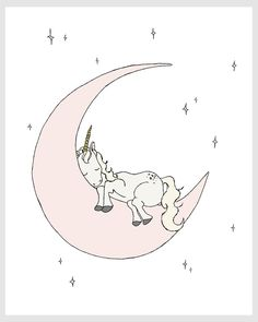 Children Art Unicorn Moon Dream Unicorn by SweetMelodyDesigns
