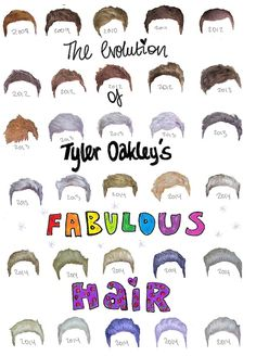the evolution of Tyler Oakleys fabulous hair<<<Omg he dyed his hair a lot this year