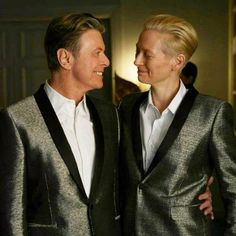 "bohemea:    David Bowie & Tilda Swinton on the set of The Stars (Are Out Tonight)  Last night while discussing this video I gushed that Bowie & Tilda both fell to earth from the same planet & SB asked, ""Do you think they spoke their native tongue while together?"" Of course they did! And it was beautiful! No gender-specific pronouns exist in Swintie's homeland!"