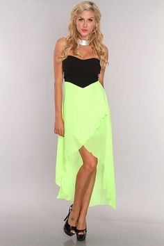 Neon Lime Black Strapless Sheer Overlay High Low Hem Dress