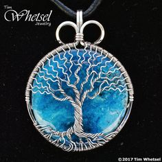 Blue Orgone - Wire Wrapped Tree of Life Necklace Pendant - Handmade Jewelry by Tim Whetsel