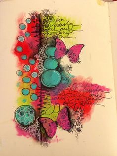 Quick art journal page using Dina Wakley paints (by Tr4cy1973)