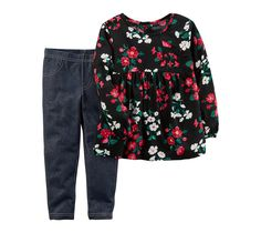Carter's Girls' 2T-4T Floral Top and Jeggings Set 3T. Top: viscose poplin. Pants: cotton / polyester / elastane. Machine washable. Two piece outfit set includes top and jeggings. Top: crew neck, long sleeves, floral pattern.