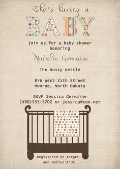 Baby shower invite Modern Crib or by freshlysqueezedcards on Etsy, $13.00