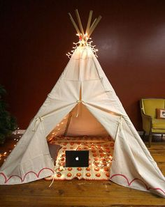 teepee in lights