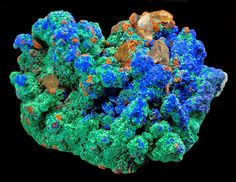Quartz crystals covered by Malachite and Azurite clusters -- From Mecissi, Er Rachidia Province, Meknès-Tafilalet Region, Morocco