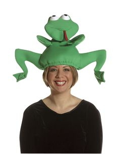 Frog giving birth to a grown woman? Crazy Hat Day, Crazy Hats, Custom Made Hats, Jumping Frog, Funny Hats, Photo Booth Props, Together We Can, Animal Party, Headgear