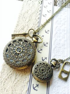 His and Hers Pocket Watch necklace  love Key by Victorianstudio, $39.99