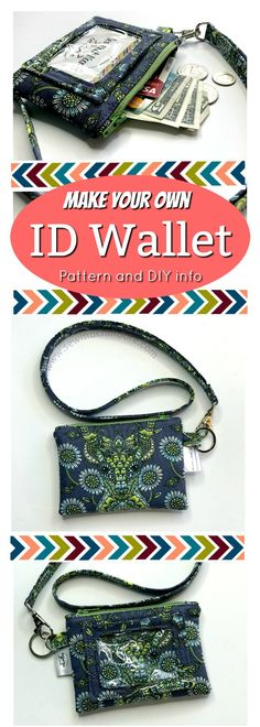 Make your own Kristine ID Wallet with detachable lanyard. Get your sewing patte. Make your own Kristine ID Wallet with detachable lanyard. Get your sewing pattern plus tips and tricks! Sewing Hacks, Sewing Tutorials, Sewing Crafts, Sewing Tips, Sewing Ideas, Sewing Designs, Bag Tutorials, Leftover Fabric, Love Sewing