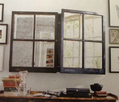 ... love the idea of using old windows w/mirror in them on hinges for covering TV in bedroom!