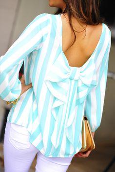 Mint bow back blouse