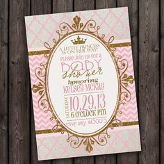 princess baby shower invitation pink gold by AmysSimpleDesigns, $9.99