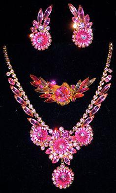 Vintage JULIANA D Pink Margarita Rhinestone PARURE Necklace Earrings Brooch Set. $825.00, via Etsy.
