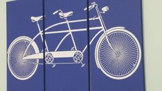 Vintage Tandem Bike / Two Person Bicycle Screen Print / Wood Painting Wall Art on Stained Solid BIRCH 3/4 inch thick