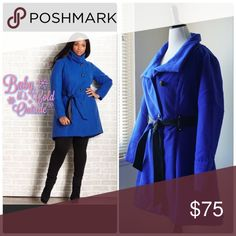Royal Blue Single-Breasted Belted A-line Coat **GORGEOUS** Royal Blue Winter Coat w/ faux leather contrast belt. You will feel warm and fabulous while turning heads in this beautiful coat!! Coat is slightly longer in the back.  Polyester/Rayon/Spandex. New/never worn/no tags. Jackets & Coats