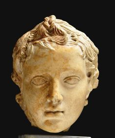Head of figure of Eros. Parian marble.   The British Museum