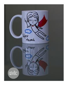 Taza de desayuno personalizada, pintada a mano, para una súper mamá. https://www.facebook.com/lastazasdesilvia?ref=hl #Tazas #mamá #madre #regalos #mug #díadelamadre
