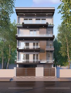 Home Facade concept developed by our Architects for one of our projects in Gulmohar Park. The project is on a 200 sq. yards plot and has a Basement + Stilt + 4 Floors.