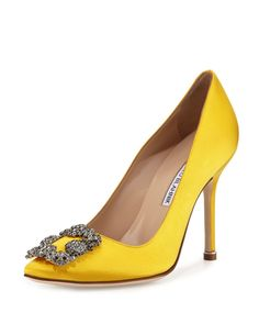 Manolo Blahnik Hangisi Crystal-Buckle Satin 105mm Pump, Yellow #manoloblahnikyellow